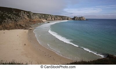 Porthcurno beach Cornwall England UK near the Minack Theatre...
