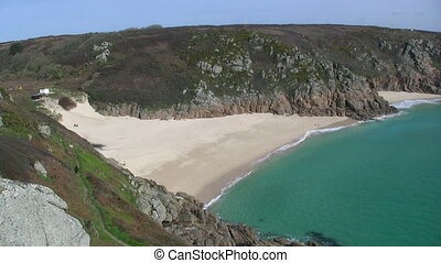 Porthcurno beach, in Cornwall UK.
