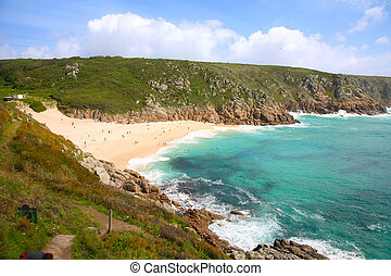 Porthcurno beach in the summertime, Cornwall, UK.