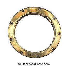 Porthole - A brass ship\\\'s porthole isolated on white