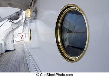 A porthole on a yacht