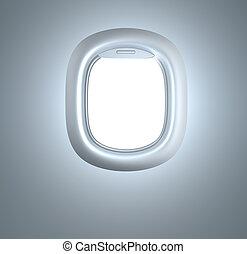 porthole., avion, enlumineur