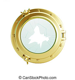 porthole broken glass gold 3d Illustrations on a white background
