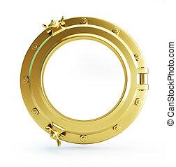 porthole gold on a white background