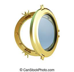 porthole gold open on a white background