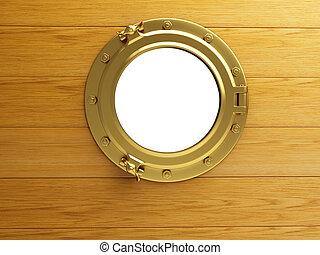 porthole gold wood