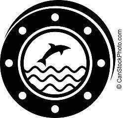 Porthole icon, simple style