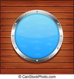 Porthole on wooden wall, vector eps10 illustration