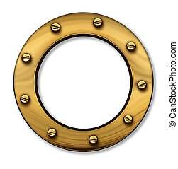Porthole or ship window as a nautical and marine symbol of a...