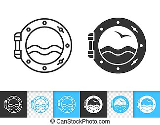 Porthole ship window simple black line vector icon