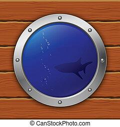 porthole., vector, eps10, shark., illustration.