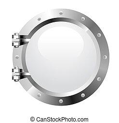 Porthole - Vector realistic metalic porthole on white...