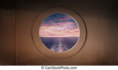 Porthole View From Back Of Ship At Sunset - Side view from...