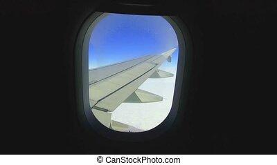 porthole view inside - airplane porthole view into open...