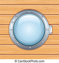 Porthole Window on a Wooden Ship. Vector Image