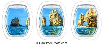 Porthole windows on Cabo San Lucas