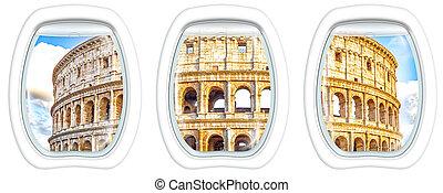 Porthole windows on Colosseo - Three porthole frame windows...