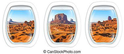 Porthole windows on Monument Valley