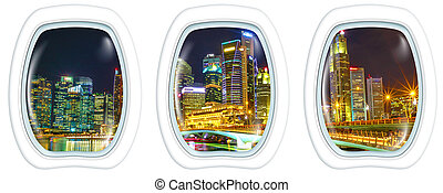 Porthole windows on Singapore downtown skyline