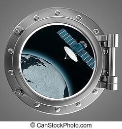 Porthole with a view a satellite - Porthole with a view of...
