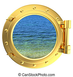 Porthole with a view of water - Gold porthole with a view of...