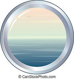 Porthole with seascape