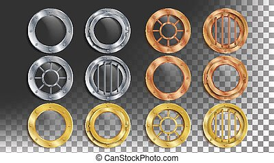 Portholes Set Vector. Round Metal Window With Rivets....