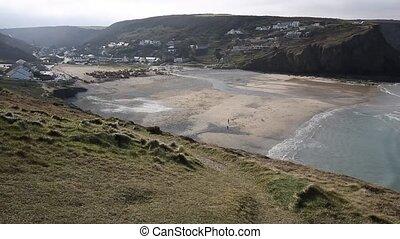 Porthtowan beach near St Agnes Cornwall England UK a popular...