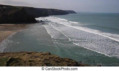 Porthtowan coast Cornwall UK - Porthtowan beach near St...