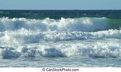porthtowan, woda, biały, fale przybrzeżne, waves.