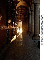 portico in Bologna, Italy - portico on Via Zamboni in...