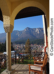 Portico with mountain panorama