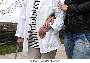 portie, assistent, persoon, bejaarden, wandeling