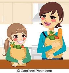 portie, dochter, verdragende groceries, moeder