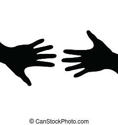 portie, gedaan, delen, hand