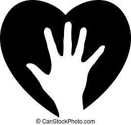 portie hand, in, het hart