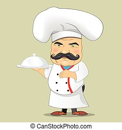 portie, illustrator, voedingsmiddelen, karakter, vrijstaand, kok, realistisch, vector, ontwerp, cook, spotprent