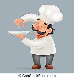 portie, illustrator, voedingsmiddelen, karakter, vrijstaand, kok, realistisch, vector, ontwerp, cook, spotprent, 3d