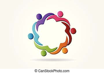 portie, logo, team, vector, mensen