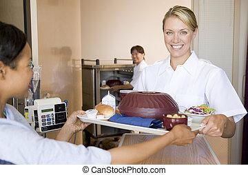 portie, patiënt, haar, bed, verpleegkundige, maaltijd