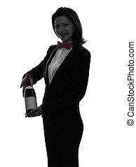 portie, silhouette, garçon, vrouw, rode wijn, lakeien