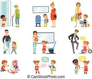 portie, volwassenen, vervoeren, weg, geitjes, set, kinderen, manieren, beleefd, bedanken, geven, goed, vector, achtergrond, elke, illustraties, witte , anderen