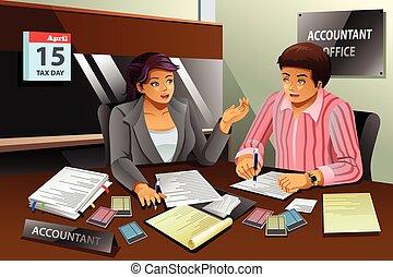 portie, vullen, belasting, accountant, man