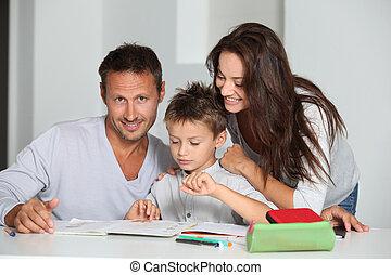 portie, zijn, ouders, huiswerk, zoon