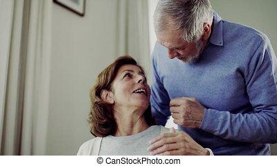 portie, zijn, vrouw, invalide, tafel, senior, home., man