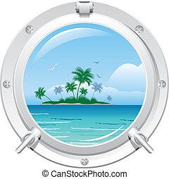 portilla, con, vista de mar