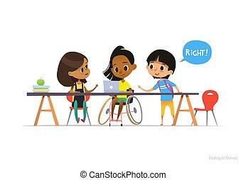 portion, école, vecteur, poster., bannière, elle, inclus, fauteuil roulant, ordinateur portable, séance, illustration, handicapé, site web, annonce, apprendre, coding., paire, girl, education, amis, concept.