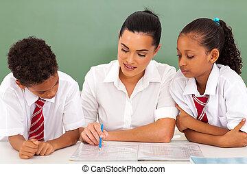 portion, étudiants, eduquer enseignant