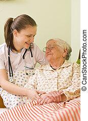 portion, a, sjuk, äldre kvinna