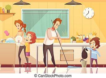portion, affiche, gosses, nettoyage, dessin animé
